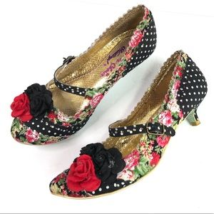 IRREGULAR CHOICE Polka Dot Flower Kitten Heels 37